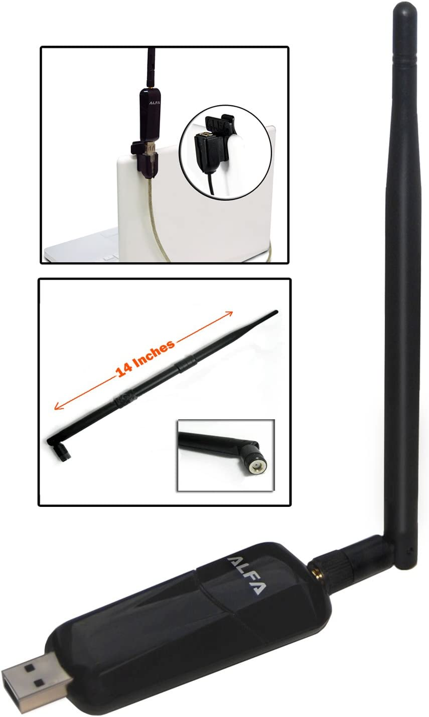 1000mW 1W 802.11g/n High Gain USB Wireless G / N Long-Rang WiFi Network Adapter - Dongle With Original Alfa 5dBi and 9dBi Rubber Antenna and USB Dongle clip, Suction cup and Extension cable for easy use