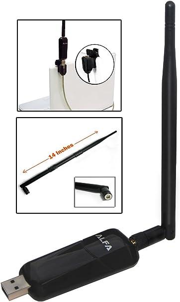 Alfa AWUS036NEH 1000mW 1 W 802,11 G/n Alta ganancia (ganancia de antena) USB WLAN Wireless G/N gran alcance WiFi adaptador - connettore protección de ...