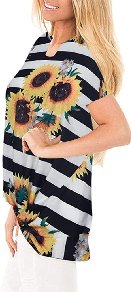 Womens Tops Women/'s Sunfloers Striped Front Side Knot Print Boutique Short Sleeves T-Shirts Tops