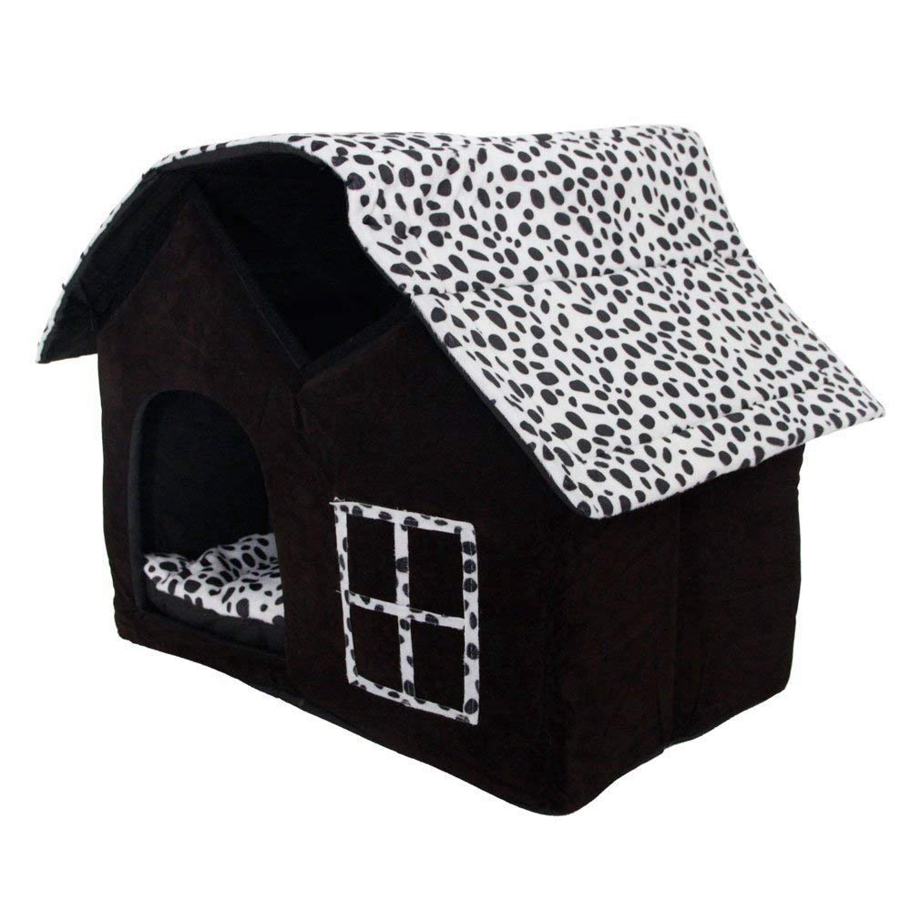 Dog House, Petforu Soft Plush Luxury British Style Pet Puppy Dog Cat Villa House Bed Cage Nest with PP Cotton Mat Folding Collapsible Removable Details-Black