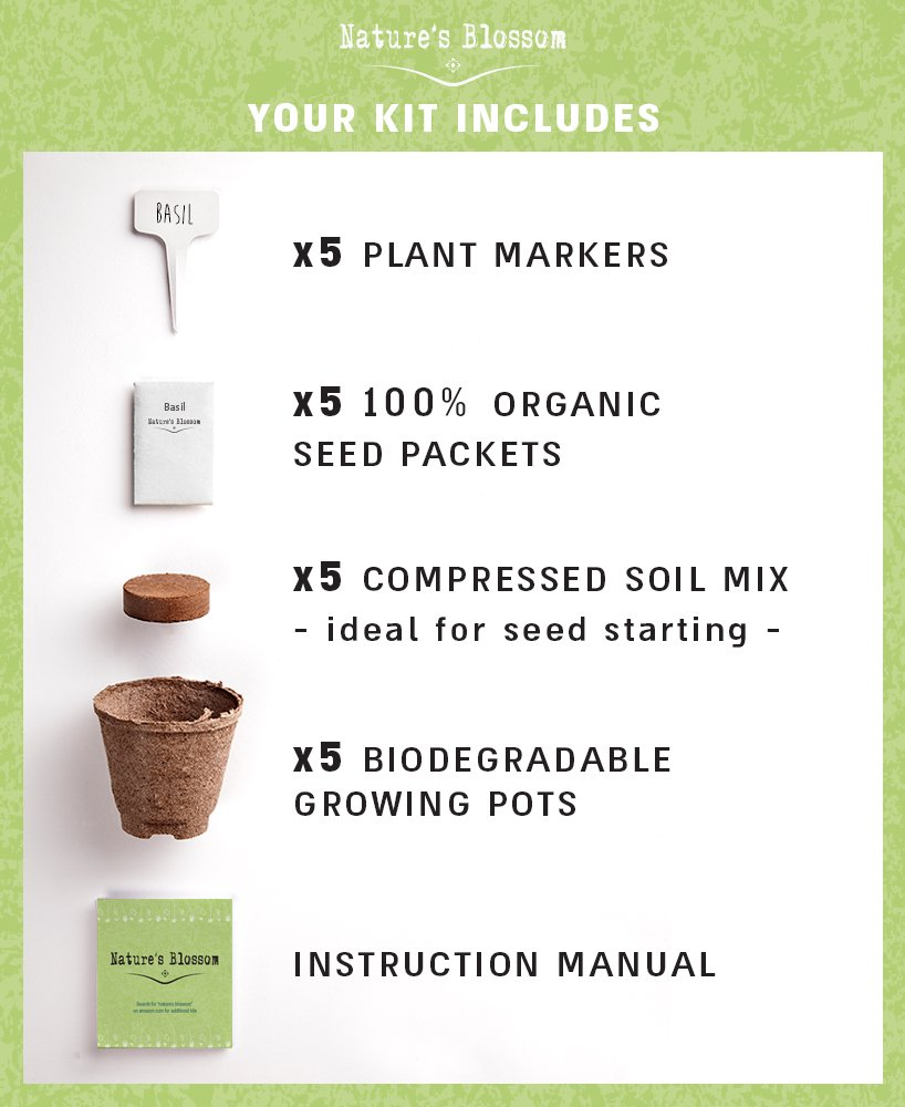 Amazon.com : Grow 5 Organic Herbs From Seed With Natureu0027s Blossom Herb  Garden Starter Kit. Set Contains Everything A Gardener Needs To Grow Plants    Seeds, ...