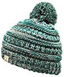 H-6847-816k.49 Girls Winter Hat Warm Knit Slouchy Kids Beanie Pom - Turquoise #3