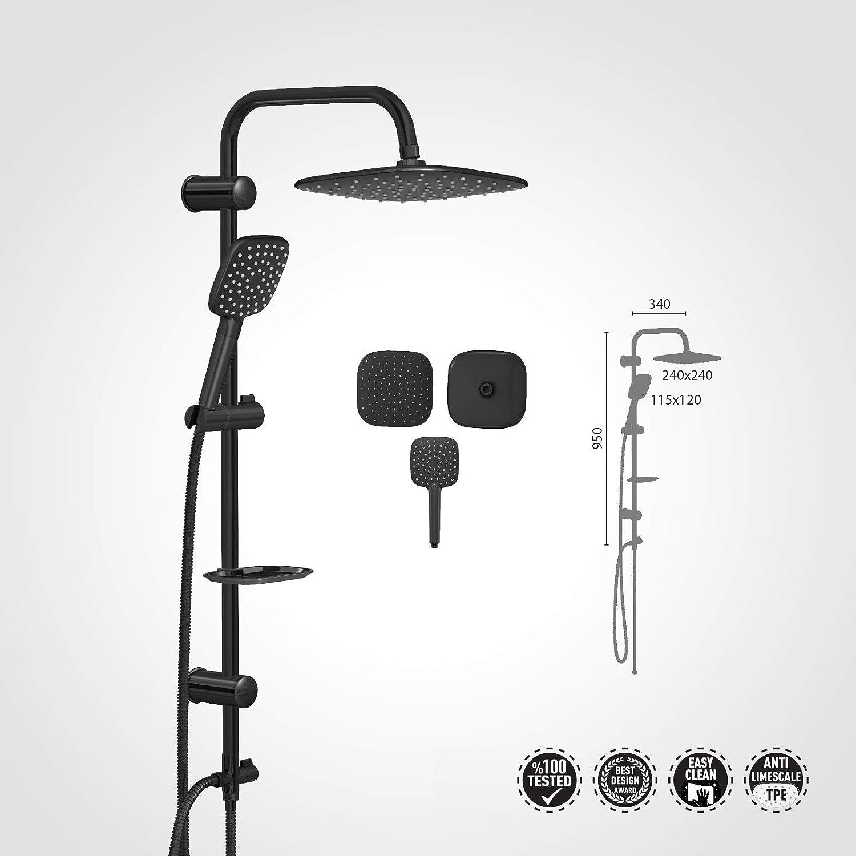 Valtemo Stylish Aqua Jet Black Matt Dual Shower Head Rain Riser Set VS-5045