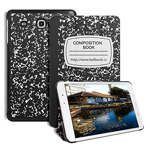 Samsung Galaxy Tab E 9.6 Case, Leafbook Ultra Slim Folding Stand Cover Case for Samsung Tab E Wi-Fi/Tab E Nook/Tab E Verizon 9.6 Inch(SM-T560 / T561 / T565 / T567V), Composition Book