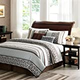 Extra Wide King Size Bedding Madison Park Princeton King Size Quilt Bedding Set - Teal, Jacquard Patterned Striped - 5 Piece Bedding Quilt Coverlets - Ultra Soft Microfiber Bed Quilts Quilted Coverlet