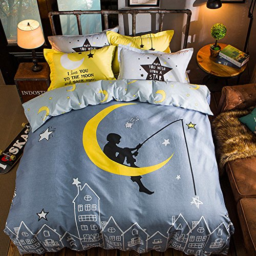 WarmGo Home Bedding Sets Full/Queen Size for Adult Kids Night Sky Moon Star Pattern Duvet Cover Set 4 Piece with 2 Personality Pillowcase( without Comforter) by WarmGo