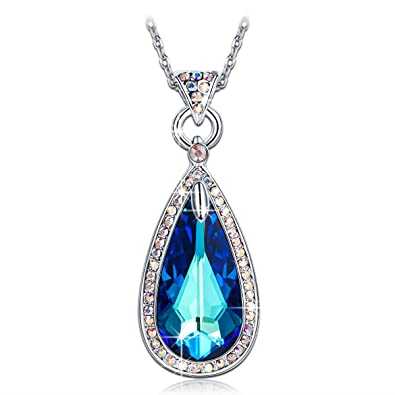 ladycolour sapphire teardrop pendant necklace swarovski crystals silver jewelry for women christmas gifts birthday gifts