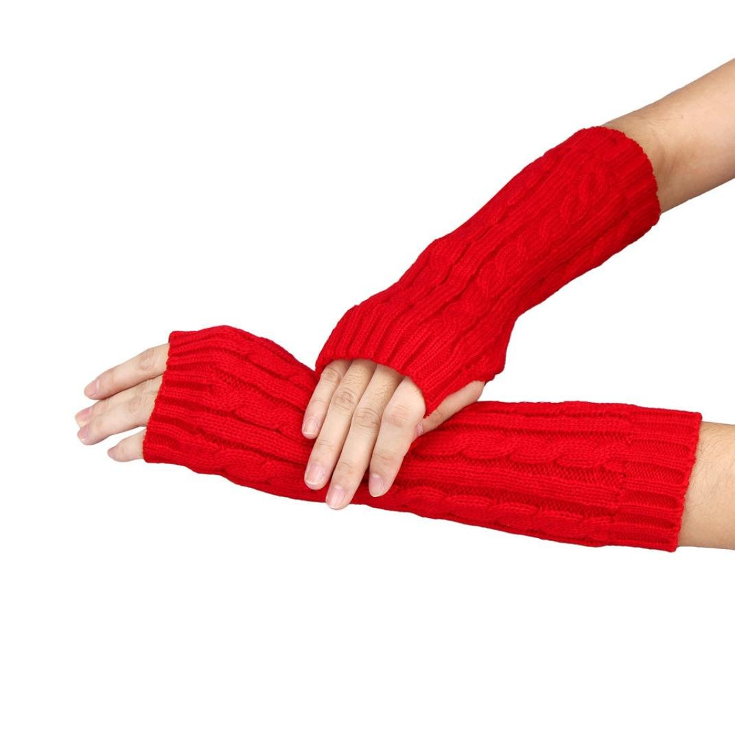 Datework Unisex Knitted Arm Fingerless Winter Gloves Soft Warm Mitten Cotton
