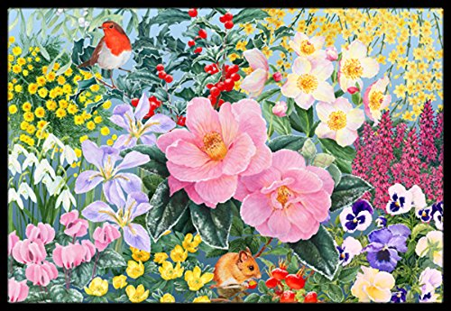 "Caroline's Treasures SASE0956MAT Winter Floral by Anne Searle Indoor or Outdoor Mat, 18"" x 27"", Multicolor from Caroline's Treasures"