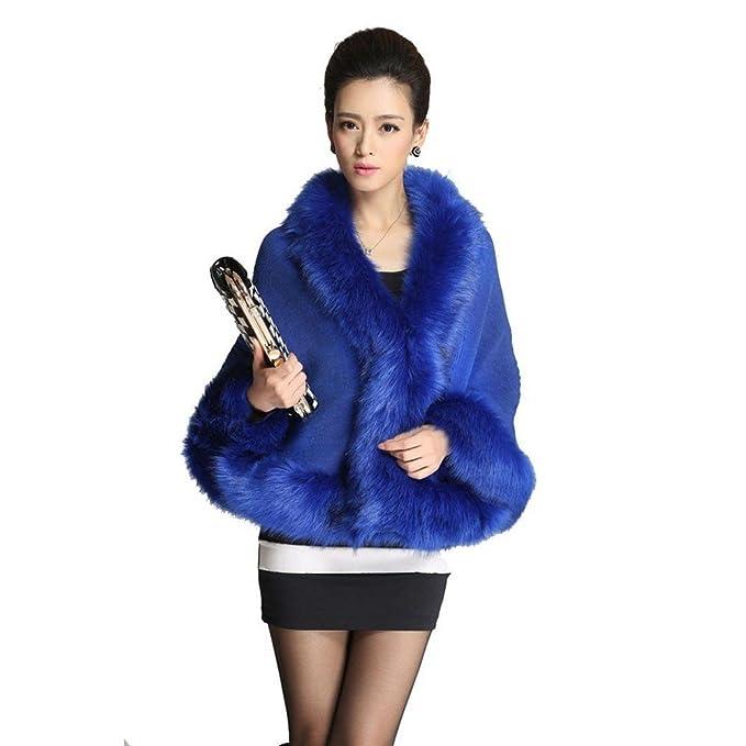 Tongshi Mujeres de la falda de piel de señora Faux abrigo corto poncho capa abrigo abrigo