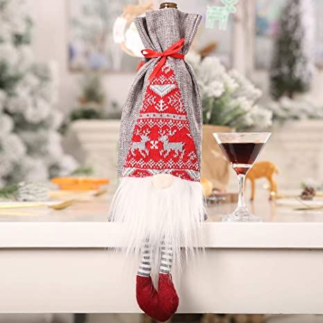 RB - 4 bolsas para botellas de vino tinto de Navidad, bolsa ...