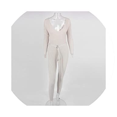 41ad97fb87b Amazon.com  Clubwear Sweater Knitted Jumpsuit Rompers Womens Jumpsuit Sexy  Bodycon Winter Jumpsuits for Women  Clothing
