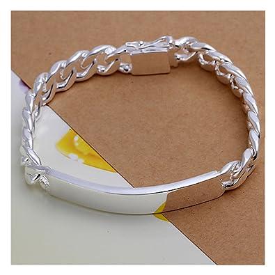 4b8520ee09737 Amazon.com  NYKKOLA Beautiful Jewellery 925 Solid Silver Classic Design  Bracelet For Women Mens  Jewelry