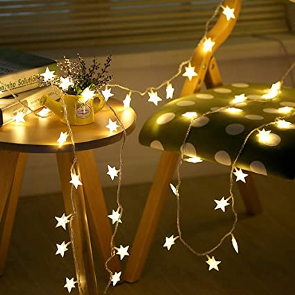 BJYHIYH USB Powered Fairy Lights 33ft 80 LED Star Twinkle Lights for  Bedroom Christmas Wedding Party Decoration(Warm White)