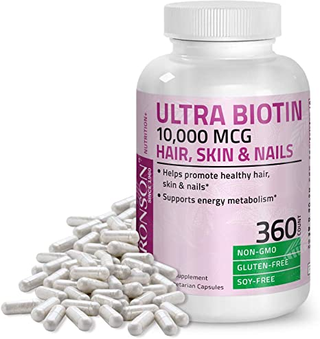 Ultra Biotin 10 000 Mcg Hair Skin And Nails Supplement Non Gmo Gluten Free Soy Free 360 Vegetarian Capsules