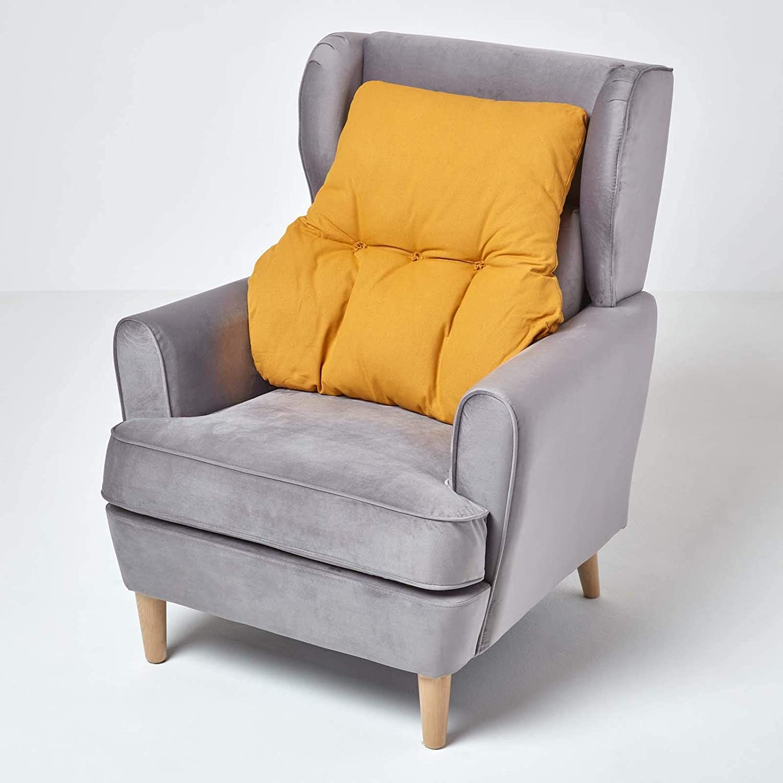 15cm Deep Desk Chair or Sofa Soft 100/% Cotton Orthopaedic Posture Cushion HOMESCAPES Dark Green Back Support Cushion Thick Lumbar Cushion for Armchair