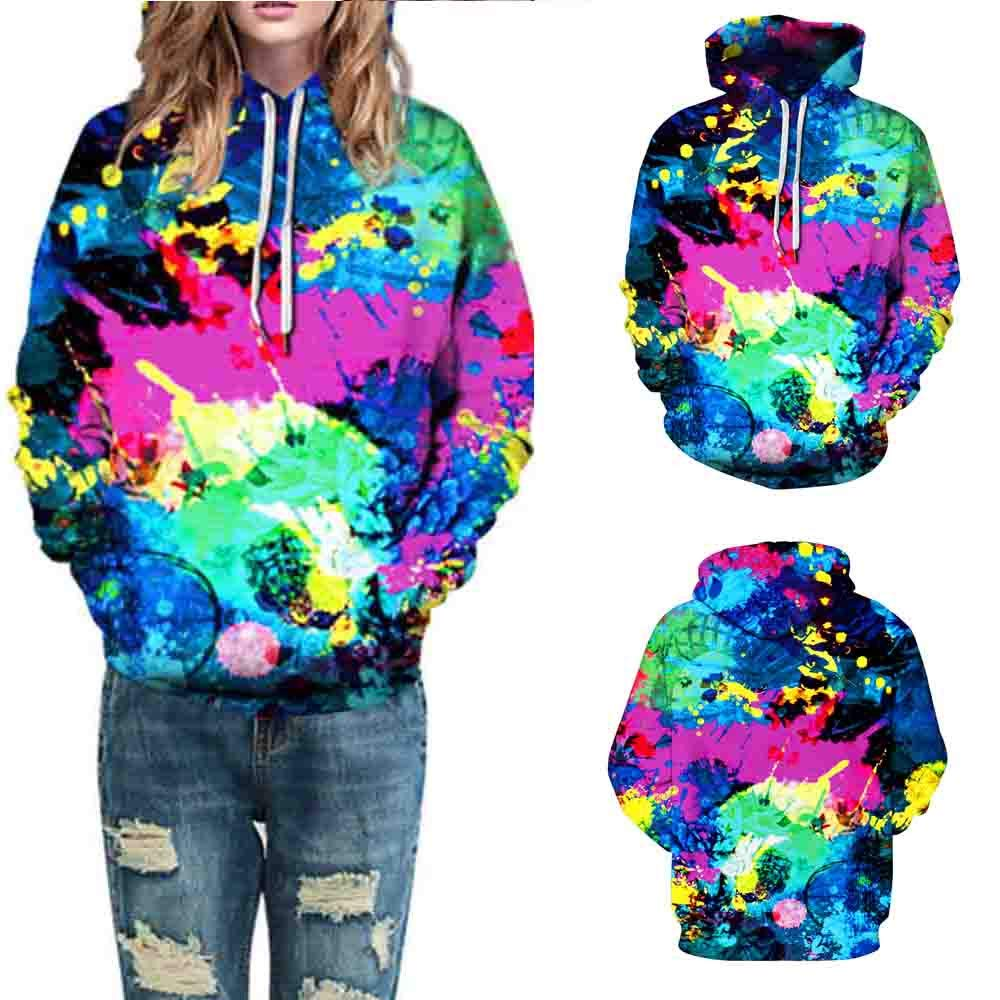 Wobuoke Women Men Fashion 3D Printing Autumn Winter Long Sleeve Caps Sweatshirt Pullover Top Blouse