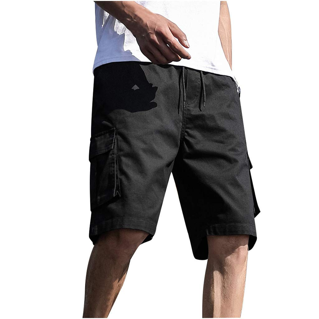 Alalaso Cargo Shorts for Men Outdoors Casual Patchwork Overalls Plus Size Sport Shorts Pants Black