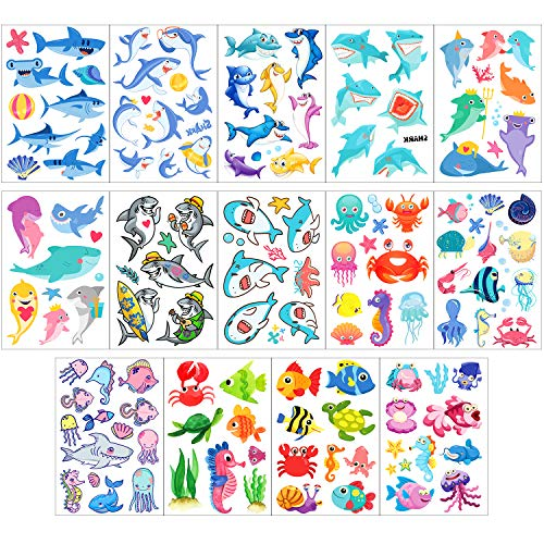 (Phogary Kids Temporary Tattoos(100pcs+), Sea World Theme Tattoos (14 Sheets) - Fish, Shark, Turtle, Seahorse, Sea Star, Octopus, Crab - Marine Life Patterns Fake Waterproof Tattoos for Boys Girls)