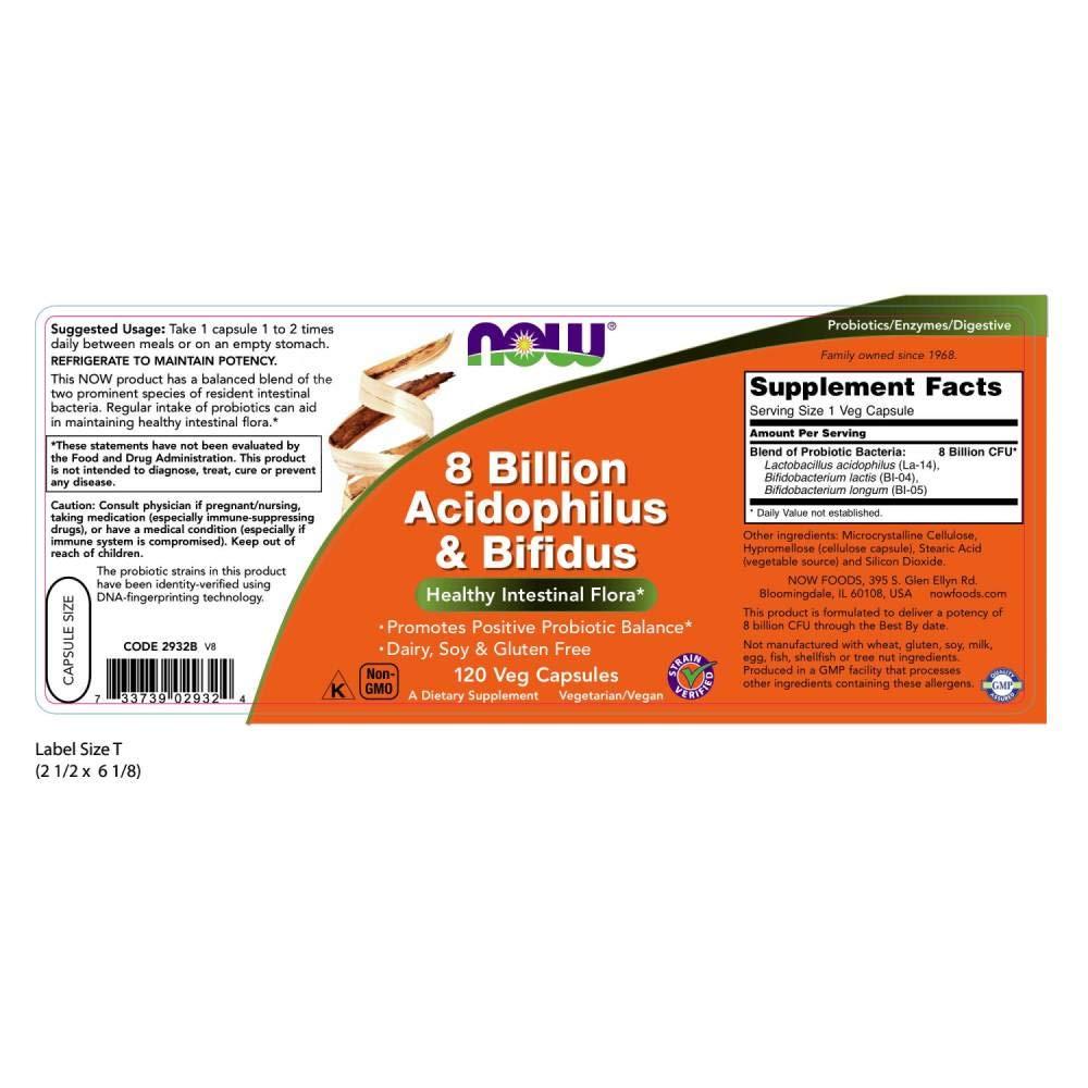 Now Foods | 8 millones de Acidophilus & Bifidus | 120 cápsulas vegetales | sin gluten y soja