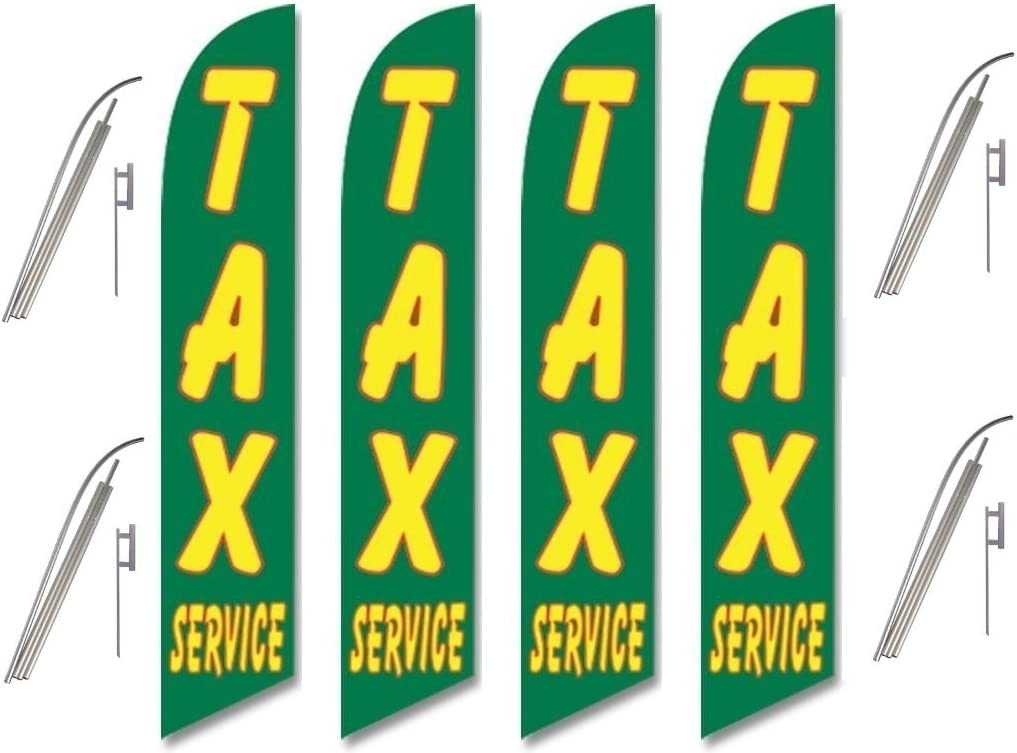 Four Full Sleeve Swooper Flags w// Poles /& Spikes TAX SERVICE Green w Yellow Red Text