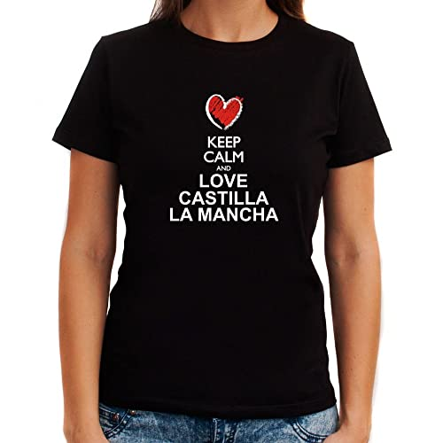 Idakoos Keep calm and love Castilla La Mancha chalk style Maglietta donna