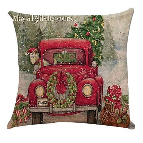 Dragon868 Kissenbezug 45 × 45cm Weihnachten Dekokissen Sofakissen Lendenkissen Wurfkissenbezug mit Verstecktem Reißverschluss