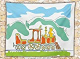 Steam Engine Fleece Throw Blanket Colorful Small Old Train in Country Retro Kids Art Vintage Cartoon Print Throw