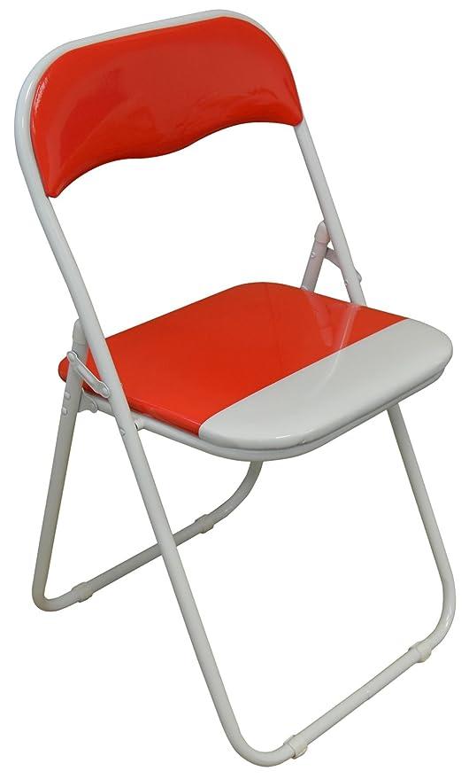Silla plegable de escritoria acolchado, rojo y blanco ...