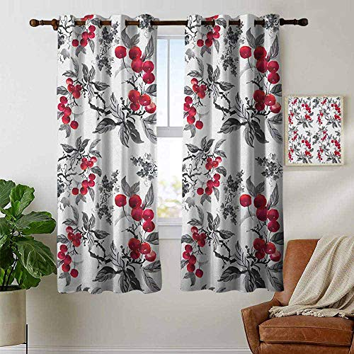 (petpany Light Blocking Curtains Rowan,Abstract Modern Garden Theme with Artistic Rowan Plant Botanical Pattern Design, Ruby Grey Black,for Bedroom, Kitchen, Living Room 42