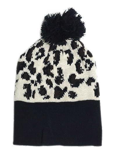 528214c47b8ba Amazon.com  Aesthetinc Classic Leopard Print Knit Pom Pom Beanie Hat ...