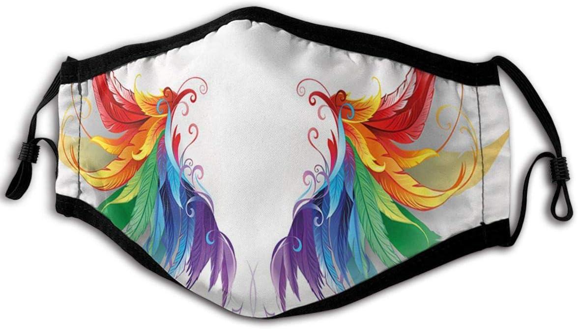 SURERUIM Gesichtsbedeckung Realistisch aussehende Federn in Regenbogenfarben die Fl/ügel Flight Angels Symmetrical bilden Sturmhaube Anti-Staub-Mund Bandanas Halsmanschette mit 2 Filtern