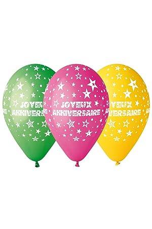 Ballon Multicolore Joyeux Anniversaire X10 Taille Unique
