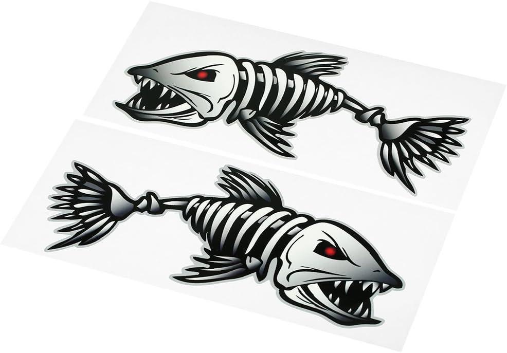2 pi/èces Squelette Autocollants de Poisson Bateau de p/êche Cano/ë Kayak Graphiques Accessoires Explopur Autocollants de Bouche de Dents de Poisson