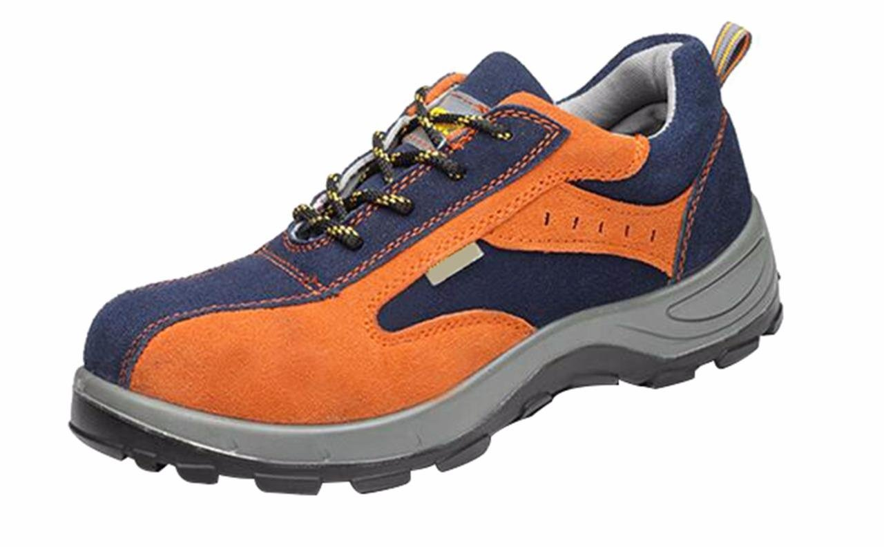 Jiu du Women's and Men's Safety Steel Toe Work Athletic Shoes Trainer Style Outdoor Proof Footwear Orange Blue Cow Leather Size US8.5 EU40