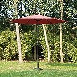 Outsunny 9ft Aluminum Patio Umbrella Garden Outdoor Parasol Sunshade Sun Shelter Wine Red