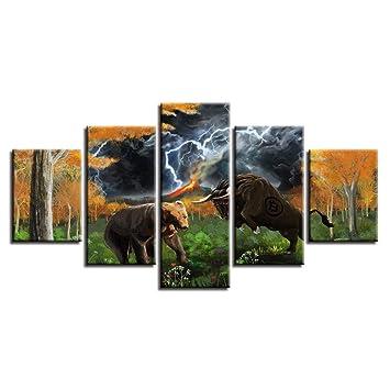 5 Piezas Animal Oso Y Toro Relámpago Abstracto Paisaje ...