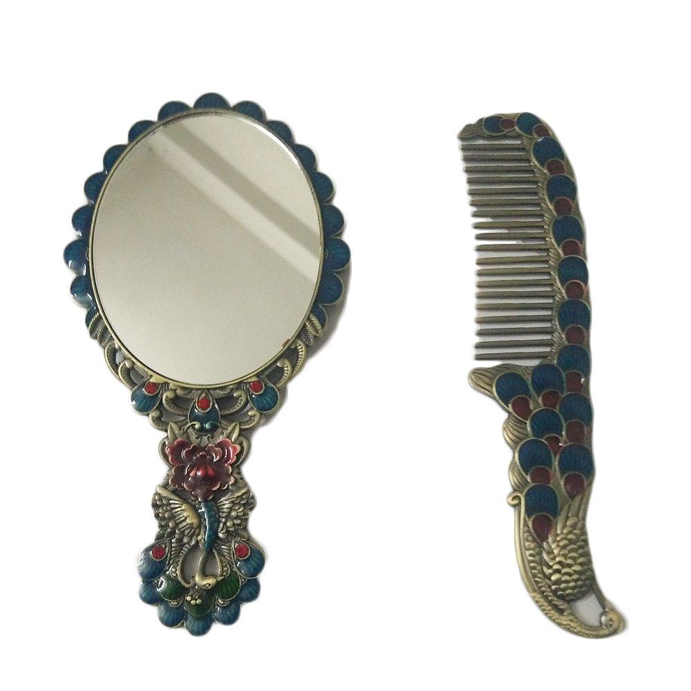 pavone retro bronzo Handled specchio set con pettine Gold homelife