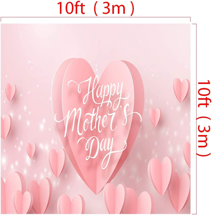 Little Lucky 10x10ft Happy Mothers Day Pink Backdrop Love Hearts Decor Pink Photography Background for Mothers Holiday Party Shoot Backdrops Prop Studio