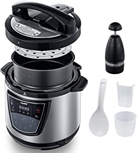 ICOOKPOT 6 Qt 9-in-1 Multi Programmable Electric Pressure Cooker,With Non-Stick Coating Inner Pot,Food Chopper Best For Canning,Slow Cooker,Rice Cooker,Steamer,Satue