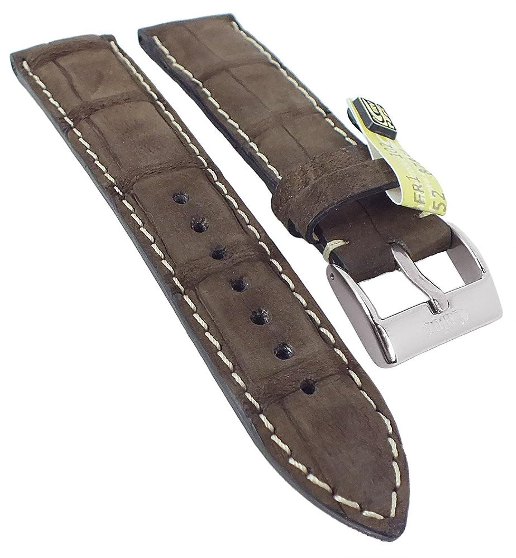 Kaiman Nubuk Ersatzband Uhrenarmband 20mm - 22mm | Kaiman-Leder braun - matt 30386 - Stegbreite:22mm - Schließe:Silbern