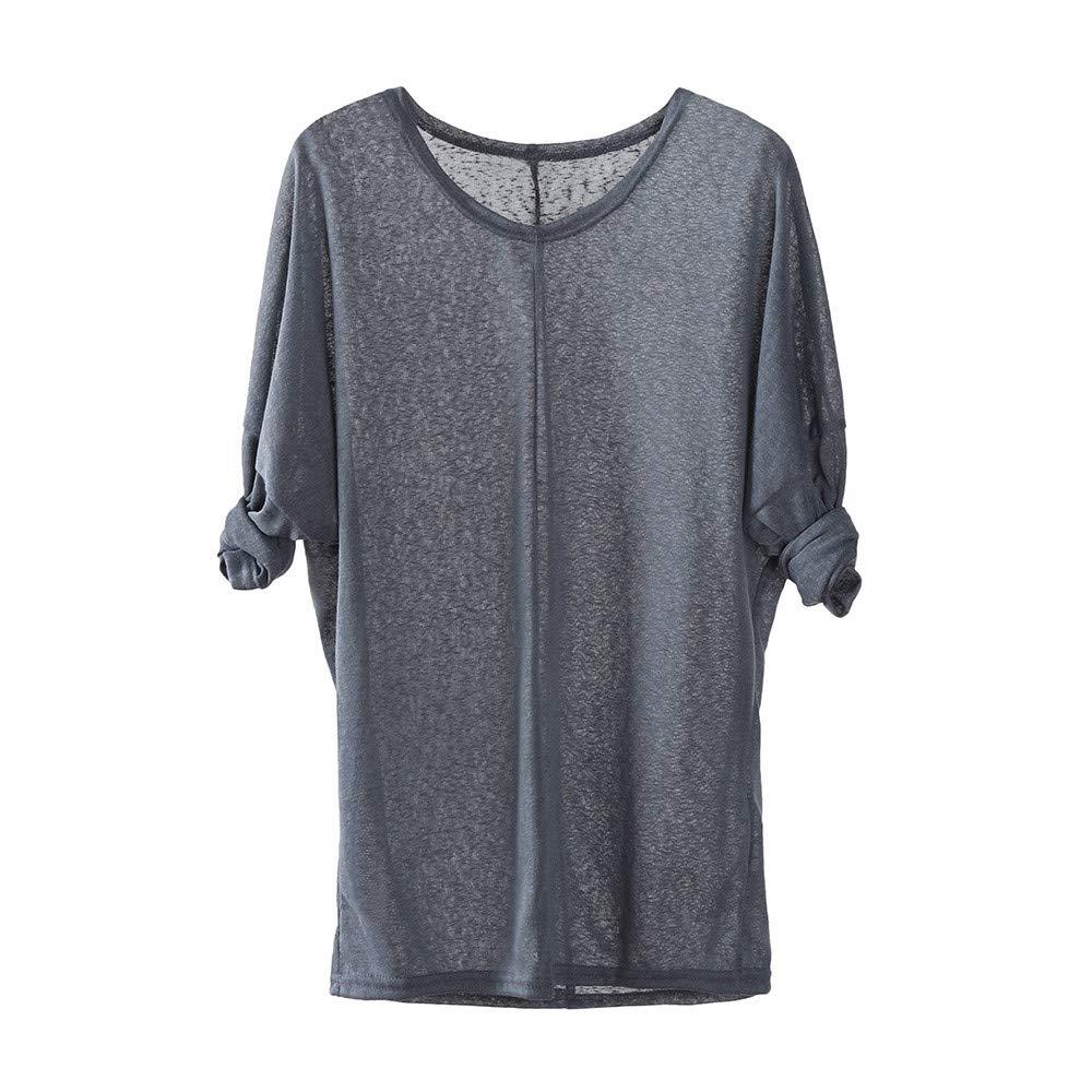 Shusuen Women Lightweight Knitting Sweaters Long Sleeve Loose Casual Blouse Tops Comfort Tunics Gray by Shusuen_Clothes