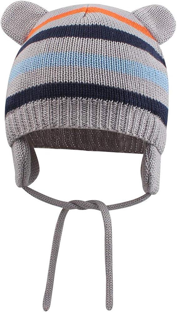 XIAOHAWANG Baby Hat Warm for Boys Cute Bear Toddler Girls Earflap Beanie Fall Winter Infant Caps Stripe
