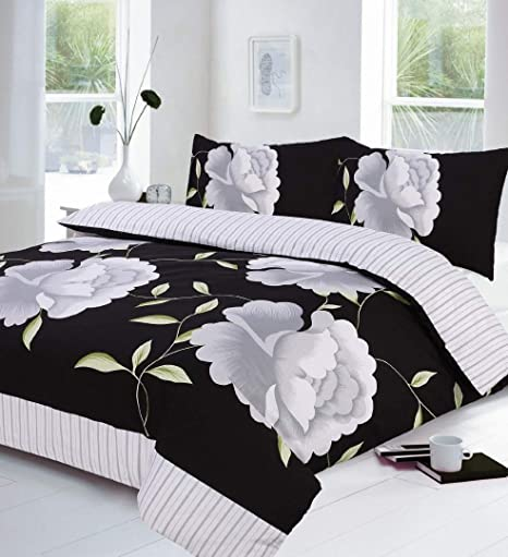 Black White And Grey King Size Duvet Quilt Cover Bedding Bed Set