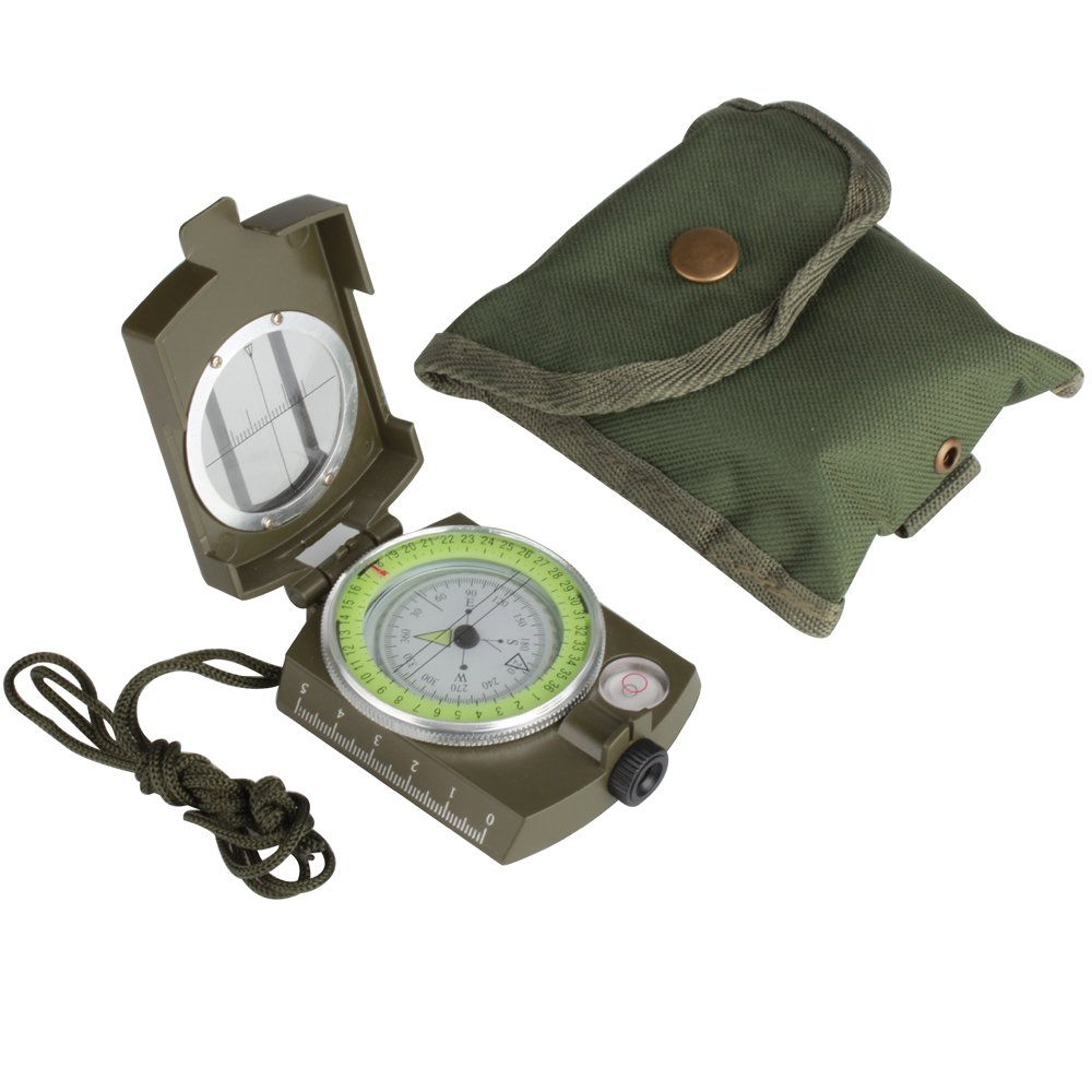 Flexzion Mini Military Compass Professional Multifunction Metal Prismatic Sighting High Accuracy Portable with Waterproof Nylon Pouch and Lanyard for Outdoor Camping Hiking Travel in Army Green