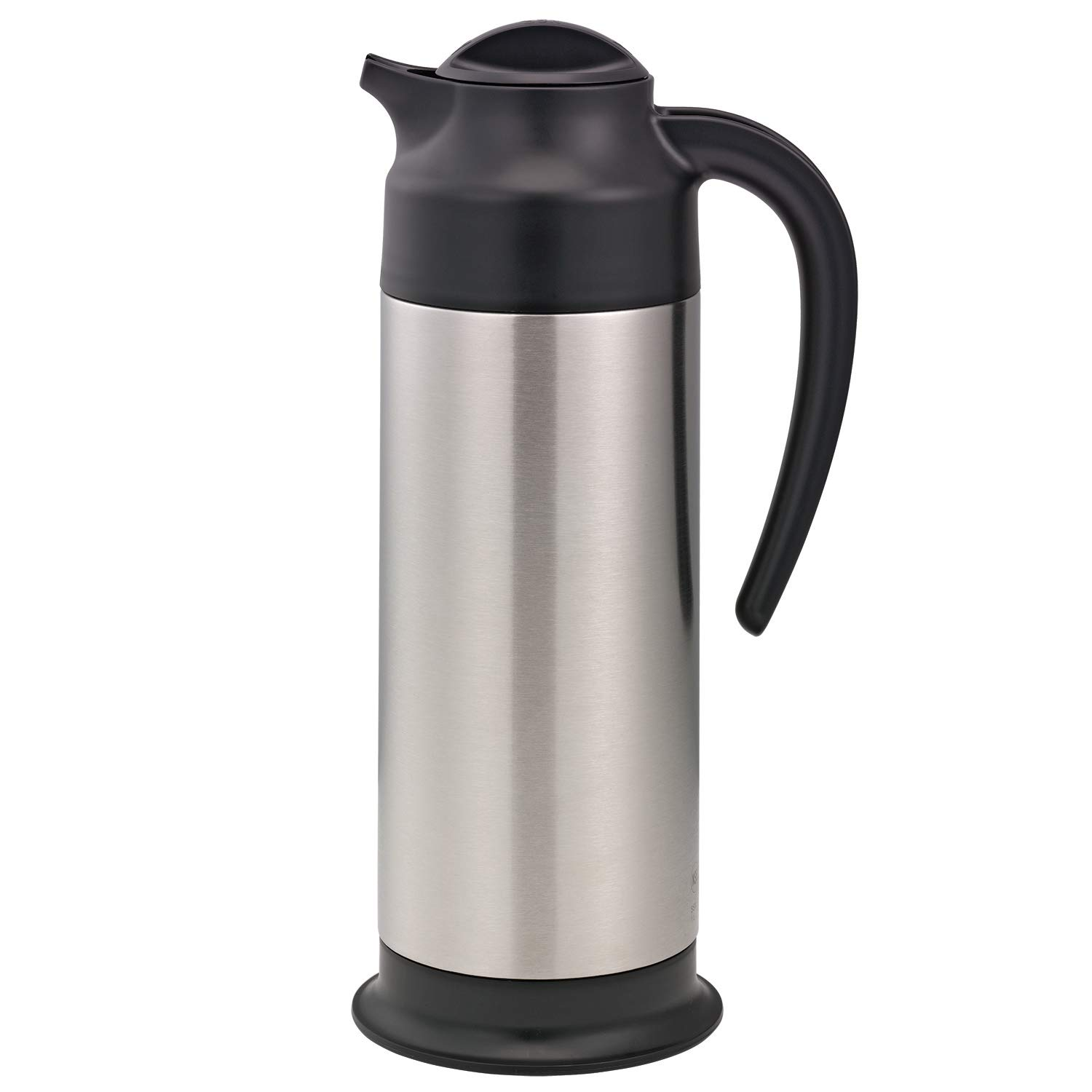 Service Ideas SSN100 SteelVac Carafe, 1 L (23.7 oz.), NSF, Brushed Stainless/Black Base