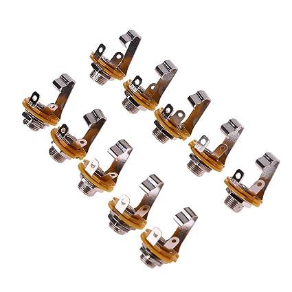 Broadroot 10pcs 1/4in guitarra jack socket conector hembra para ...