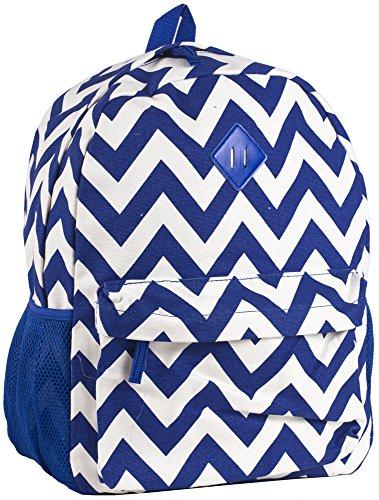 Ever Moda Royal Blue Chevron Print Canvas Backpack (16-inch)