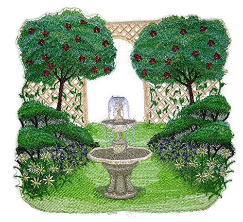 Custom And Unique Garden Fountain Scene Embroidered Iron on/Sew patch [7.82