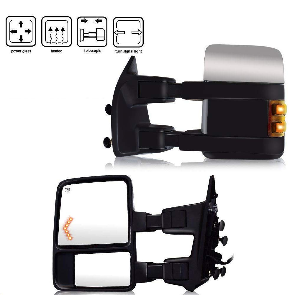 T-Former Ford Towing Mirrors for 1999-2007 Ford F250 F350 F450 F550 Tow Mirrors Power Heated with Turn Signal Light Side View Mirrors 1999 2000 2001 2002 2003 2004 2005 5006 2007